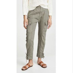NWT JOIE Telutci Lace-Up Linen Pants in Fatigue 6
